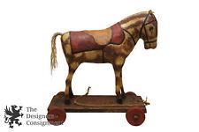 """23"""" Antique Papier Mache Composition Folk Art Childs Pull Toy Horse Wooden Base"""