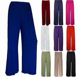 Womens Plain Palazzo Wide Leg Flared Ladies Trousers Pants Plus Size 8-30