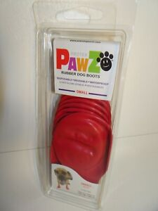 NEW PAWZ Sz SMALL RED RUBBER DOG BOOTS WATERPROOF Reusable Disposable 12 PACK