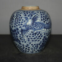 Nice Chinese Old Blue and White Double-Phoenix Porcelain Jar Vase tank