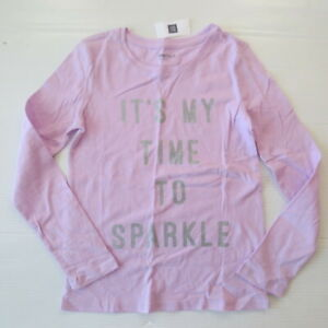 """Gap Kids 'It's My Time To Sparkle"""" Graphic Lilac Shirt - S (6-7) - NWT"""