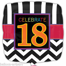 """18"""" Celebrate 18 In Style 18th Birthday Party Square Foil Balloon"""