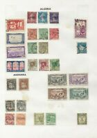 Andorra and Algeria Stamps on Album Page Unchecked. Overprints and Postage Due