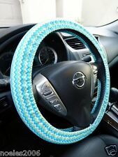 Handmade Steering Wheel Cover Mini Mint Green Shades and White Chevron Zig Zag