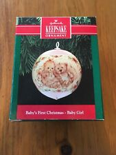 Hallmark Keepsake Ornament 1991 Baby's First Christmas Unbreakable Satin Girl