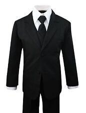 Boys Formal Black Suit 5 Pieces Set Toddler Size 2T to 14
