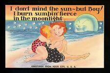 Comic Vintage linen postcard Couple spooning beach Generic Sample Greetings