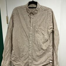 J. Crew Mens Size M Beige Checked Long Sleeve Button Down Oxford Shirt