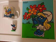 Vintage Smurf Mug 1981 SPORTY Football Figure PEYO 1980 & 1982 Smurfette Puzzle