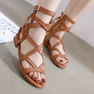 Womens Strappy Sandals Gladiator Roman Flats Summer Casual Shoes Buckle Side Zip