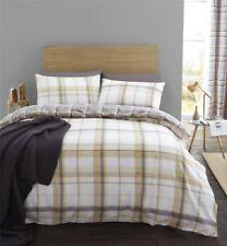 Linge de lit et ensembles blanc coton mélangé avec des motifs Carreaux