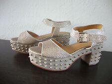 ASH CAPRICE Sandal Leder Schuhe Damen Sandalette Sandalen Glitzer Gold Gr.37 NEU