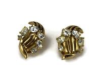 Vintage Crown Trifari Clear Rhinestone Earrings Gold Tone Clip Swirl Pat Number
