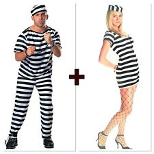 Women Men Convict Costume Jail Jumpsuit  Black White Stripe Prisoner Costume