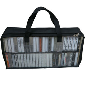 Evelots Cassette Tape Bag-Organizer-Carrier-Storage-Dust,Moisture Free-Holds 50