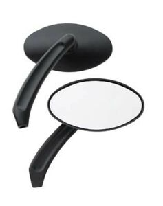 BLACK MINI OVAL MIRRORS HARLEY DYNA FXR FXRS SOFTAIL SPORTSTER TOURING