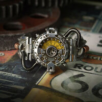 Mens Steampunk Skeleton Mechanical Watch Retro Dial Vintage Quartz Wristwatches
