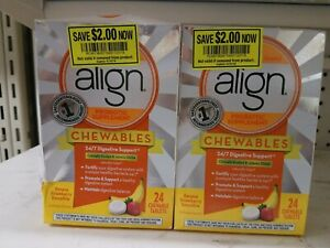 Align Probiotic Supplement 24 Chewable  Tablets Each, (2 pack) EXP: 07/18 Digest