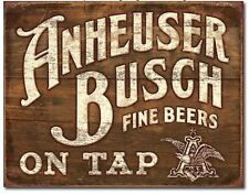 Anheuser Busch Metal TIN Sign On Tap Budweiser Beer Bud Retro Vintage Look New
