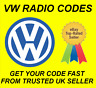 VW VOLKSWAGEN RADIO CODE UNLOCK CODE FOR ALL RCD MODELS | RNS 300 310 315