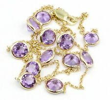 Purple Amethyst 4 mm Gemstones 16 Inches Necklace 14k Yellow Chain