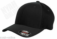NEW BLACK PLAIN FLEXFIT MESH CAP FITTED BASEBALL FLEXIFIT PEAK HAT SIZE S-M