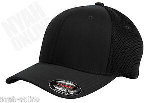 NEW BLACK PLAIN FLEXFIT MESH CAP FITTED BASEBALL FLEXIFIT PEAK HAT SIZE L-XL