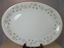 Large Oval Serving Platter Snowflake Design Hira Fine China Japan 16 x 13.5""