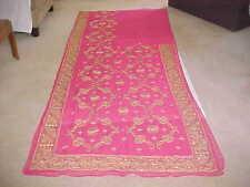 PINK Gold DESIGNER Magnificent Sari RARE Fabric PANEL WINDOWS Drapes TOP CURTAIN