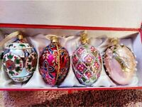 JOAN RIVERS Classic Collection Set 4 Russian Egg Ornaments Christmas MIB Pastels