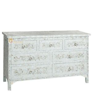 chest of 7 drawers floral design large mother of pearl pale blue color home deco