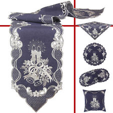 Christmas Embroidery Pillowcase Tablecloth Table Runners Doily Linen Candle Blue