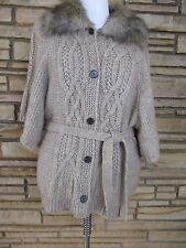 Ann Taylor Loft Long Cardigan Sweater Sz M Faux Fur Collar Beige
