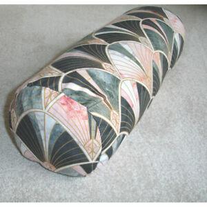 Art Deco Bolster Cover Pink Grey Gold Black 6x16 Cylinder Cushion Nouveau 16x6