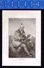 Daniel Boone, US Western Pioneer, Trailblazer -1909 Historical Print