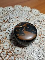 Vintage Lacquer Snuff Box, Round with Mountain Scene