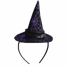 Adult Ladies Witch Spider Web Cobweb Witches Hat on Headband Halloween Accessory