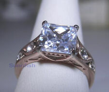 NEW PRINCESS SOLITAIRE RING STAINLESS STEEL ROSE GOLD FINISH SIZE 9
