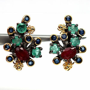NATURAL RED RUBY, GREEN EMERALD & BLUE SAPPHIRE 925 STERLING SILVER EARRINGS