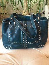 Michael Kors Studded Leather Dark Blue Handbag, Studded Pockets On Front