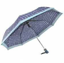 Friendly Automatic Push Button Folding Umbrella- Checkered Design (Navy Blue)