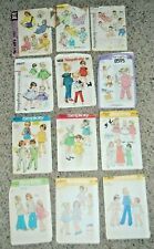 Vintage Lot 12 Infant Toddler Sewing Patterns McCalls Simplicity 70's