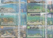 Indian Ocean Set 6 banknotes 1-6 dollars 2017 year UNC (private issue)