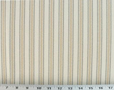 Drapery Upholstery Fabric 100% Cotton Classic Ticking Stripe - Tan/Gray/Ivory