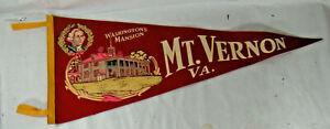 Vintage Washington's Mansion-Mt. Vernon, VA. Felt Souvenir Pennant