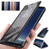 Pour Huawei P40 Lite E P40 Pro+ P30 Miroir étui cuir intelligent Folio coque