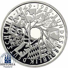 Deutschland 10 DM 40 Jahre BRD 1989 Silber Spiegelglanz Münze in Münzkapsel