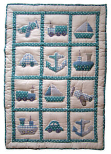 Traditional Handmade Cot Quilt Play Mat & Case Baby Boat  or Fairy free cushion