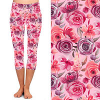Pink Purple Teal Floral Flower Women/'s CAPRI Leggings Plus Size TC 12-18