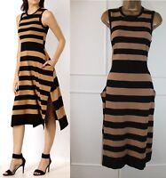 Karen Millen Black Brown Stripe Knit Cocktail Casual Jumper Midi Dress UK 12-14